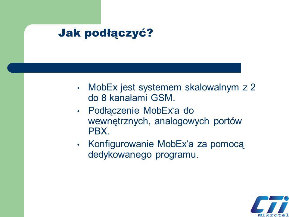 Jak podłączyć? MobEx jest systemem skalowalnym z 2 do 8 kanałami GSM. Podłączenie MobExa do wewnętrznych, analogowych portów PBX. Konfigurowanie MobEx
