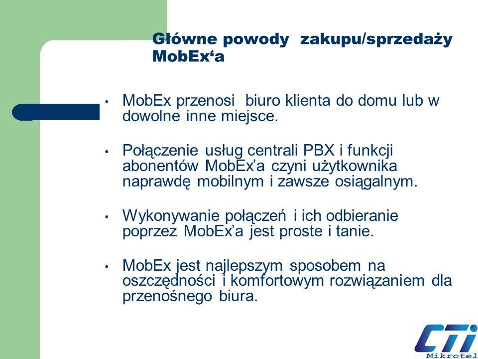 Główne powody zakupu/sprzedaży MobExa MobEx przenosi biuro klienta do domu lub w dowolne inne miejsce. Połączenie usług centrali PBX i funkcji abonent