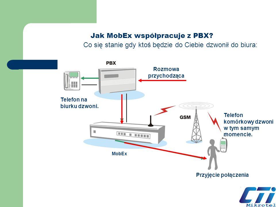 Jak MobEx współpracuje z PBX? Telefon na biurku dzwoni. Przyjęcie połączenia Telefon komórkowy dzwoni w tym samym momencie. Rozmowa przychodząca Co si