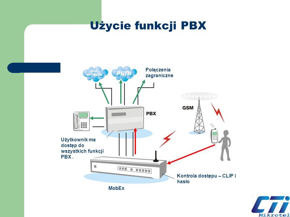 Użycie funkcji PBX Kontrola dostępu – CLIP i hasło Użytkownik ma dostęp do wszystkich funkcji PBX. MobEx Połączenia zagraniczne