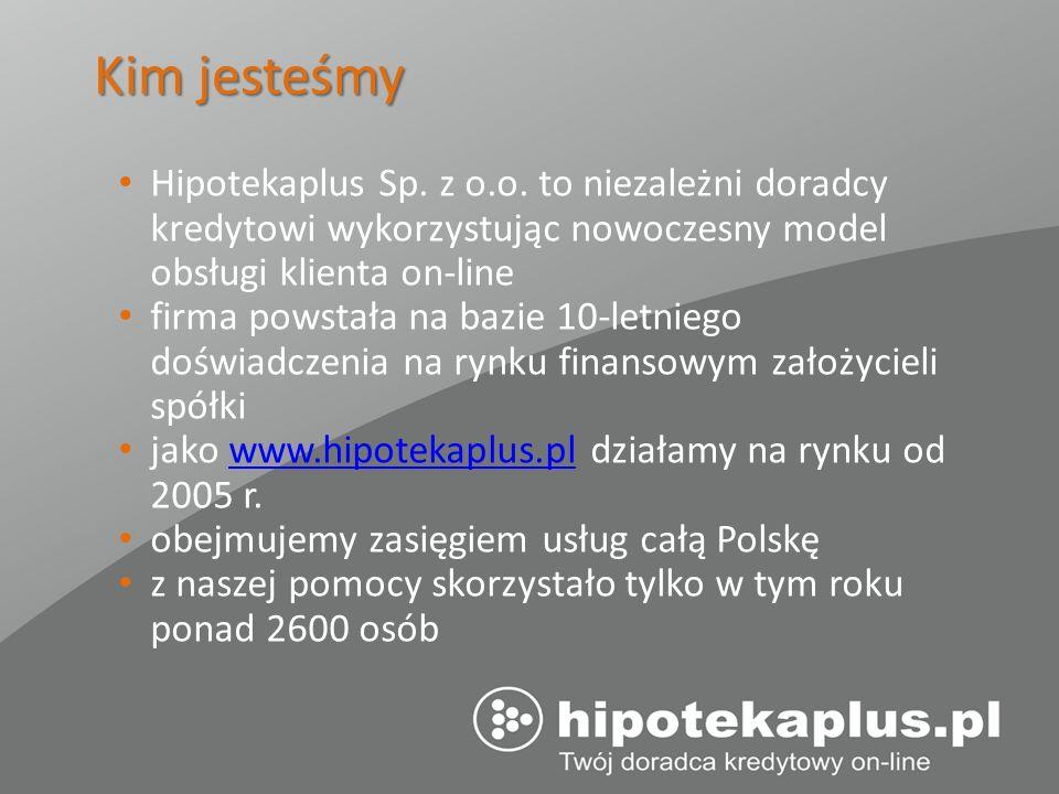Kim jesteśmy Hipotekaplus Sp. z o.o. to niezależni doradcy kredytowi wykorzystując nowoczesny model obsługi klienta on-line firma powstała na bazie 10