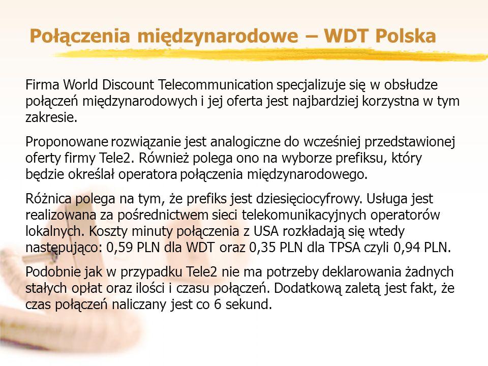 Połączenia międzynarodowe – WDT Polska Firma World Discount Telecommunication specjalizuje się w obsłudze połączeń międzynarodowych i jej oferta jest