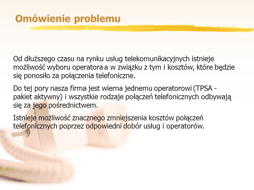 Omówienie problemu Od dłuższego czasu na rynku usług telekomunikacyjnych istnieje możliwość wyboru operatora a w związku z tym i kosztów, które będzie