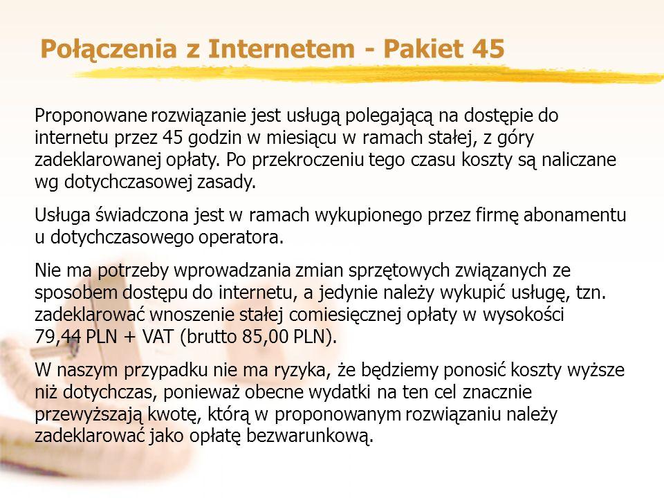 Połączenia z Internetem - Pakiet 45 Proponowane rozwiązanie jest usługą polegającą na dostępie do internetu przez 45 godzin w miesiącu w ramach stałej