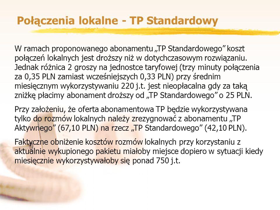 Połączenia lokalne - TP Standardowy W ramach proponowanego abonamentu TP Standardowego koszt połączeń lokalnych jest droższy niż w dotychczasowym rozw