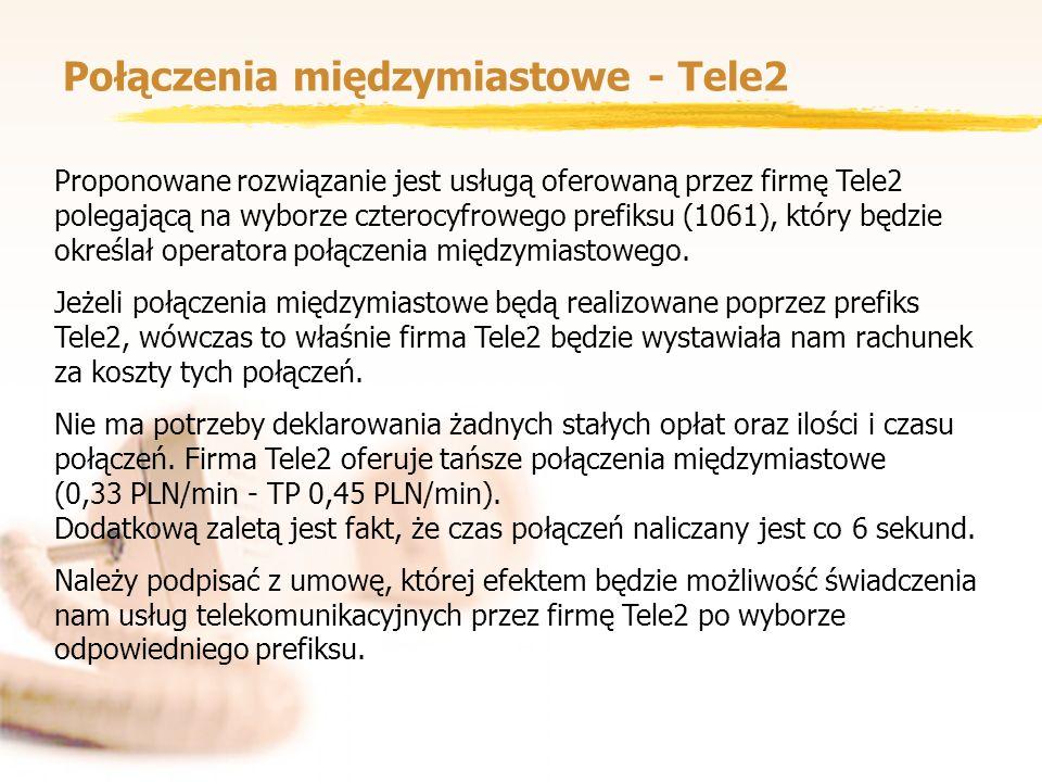Połączenia międzymiastowe - Tele2 Proponowane rozwiązanie jest usługą oferowaną przez firmę Tele2 polegającą na wyborze czterocyfrowego prefiksu (1061