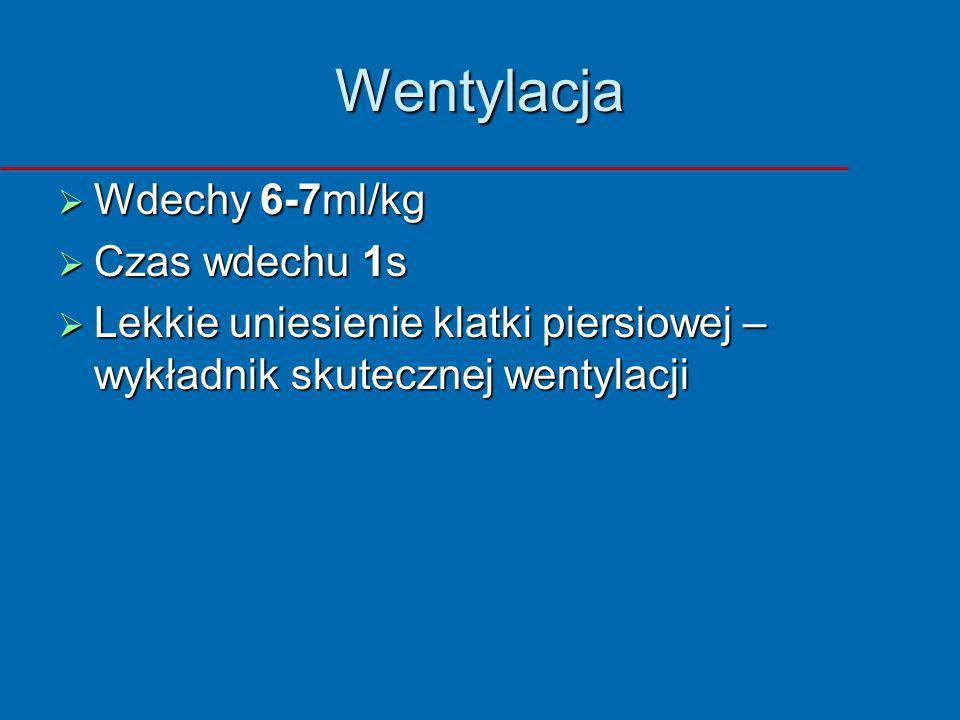 Wentylacja Wdechy 6-7ml/kg Wdechy 6-7ml/kg Czas wdechu 1s Czas wdechu 1s Lekkie uniesienie klatki piersiowej – wykładnik skutecznej wentylacji Lekkie