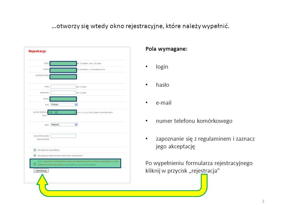 …otworzy się wtedy okno rejestracyjne, które należy wypełnić. Pola wymagane: login hasło e-mail numer telefonu komórkowego zapoznanie się z regulamine