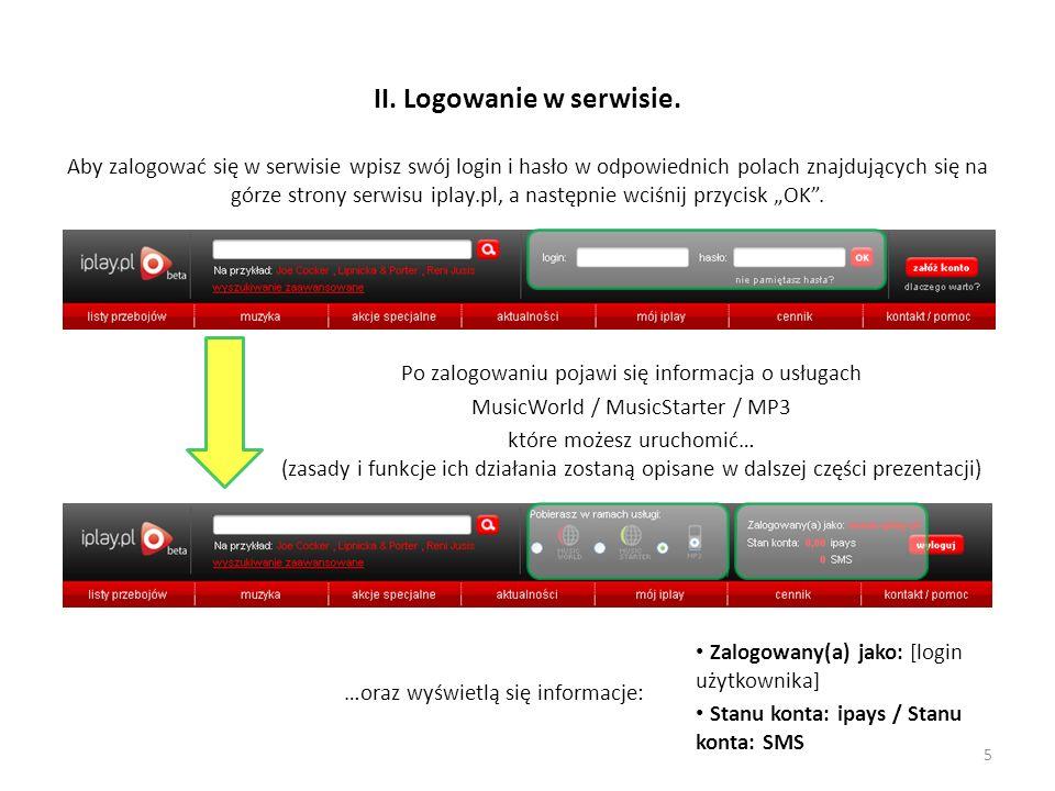 II. Logowanie w serwisie. Aby zalogować się w serwisie wpisz swój login i hasło w odpowiednich polach znajdujących się na górze strony serwisu iplay.p