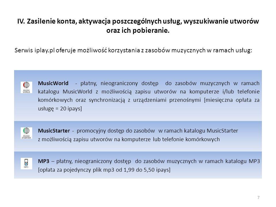 IV. Zasilenie konta, aktywacja poszczególnych usług, wyszukiwanie utworów oraz ich pobieranie. Serwis iplay.pl oferuje możliwość korzystania z zasobów