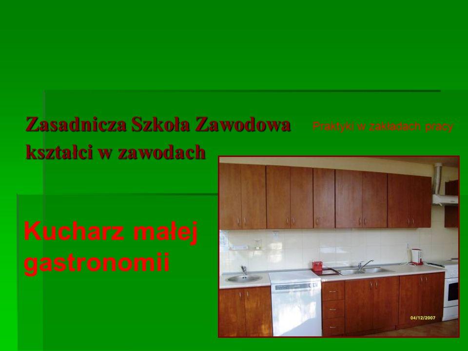 Zasadnicza Szkoła Zawodowa kształci w zawodach Kucharz małej gastronomii Praktyki w zakładach pracy