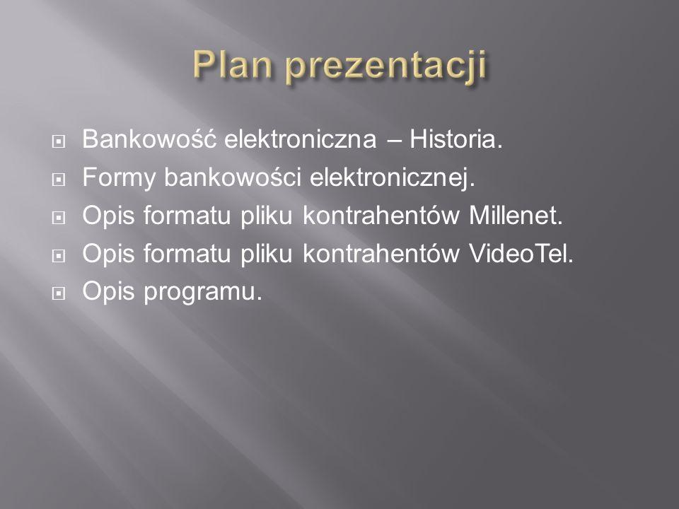 Bankowość elektroniczna – Historia. Formy bankowości elektronicznej. Opis formatu pliku kontrahentów Millenet. Opis formatu pliku kontrahentów VideoTe