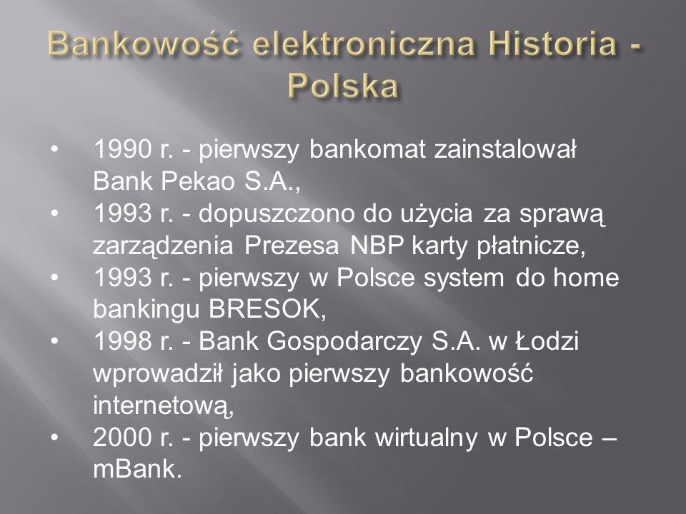 1990 r. - pierwszy bankomat zainstalował Bank Pekao S.A., 1993 r. - dopuszczono do użycia za sprawą zarządzenia Prezesa NBP karty płatnicze, 1993 r. -