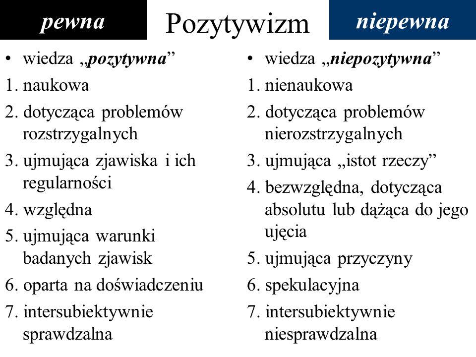 Pozytywizm wiedza pozytywna 1. naukowa 2. dotycząca problemów rozstrzygalnych 3. ujmująca zjawiska i ich regularności 4. względna 5. ujmująca warunki