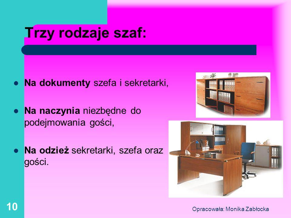 Opracowała: Monika Zabłocka 10 Trzy rodzaje szaf: Na dokumenty szefa i sekretarki, Na naczynia niezbędne do podejmowania gości, Na odzież sekretarki,