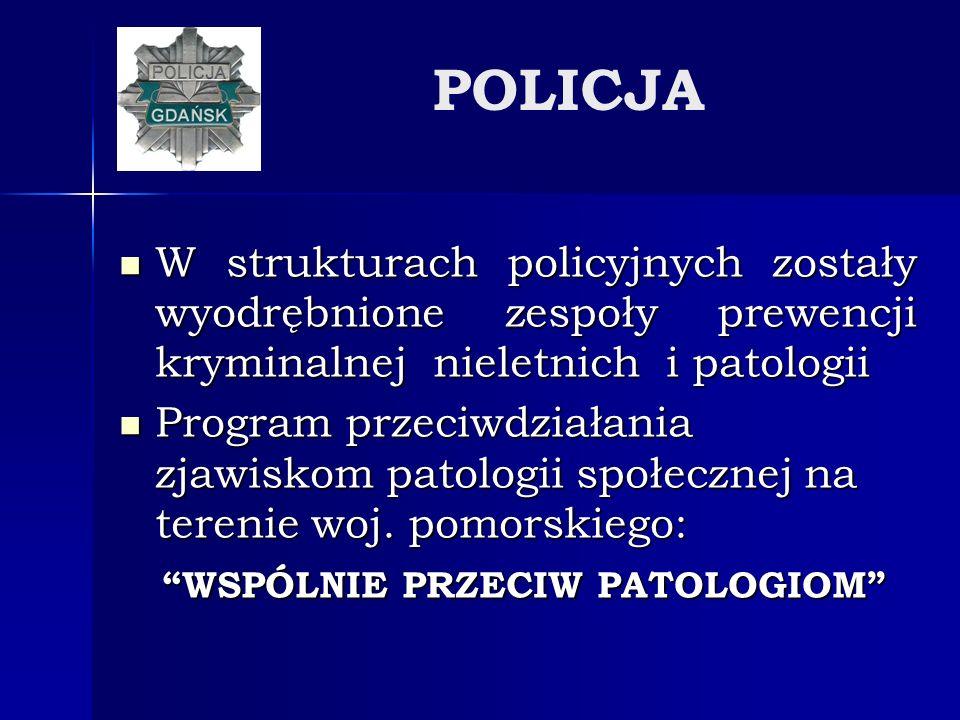 POLICJA W strukturach policyjnych zostały wyodrębnione zespoły prewencji kryminalnej nieletnich i patologii W strukturach policyjnych zostały wyodrębn