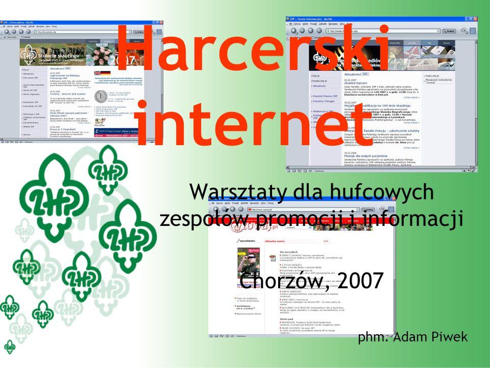 Harcerski internet Warsztaty dla hufcowych zespołów promocji i informacji Chorzów, 2007 phm. Adam Piwek