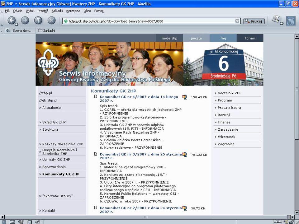 Harcerski internet komunikaty GK ZHP www.gk.zhp.pl
