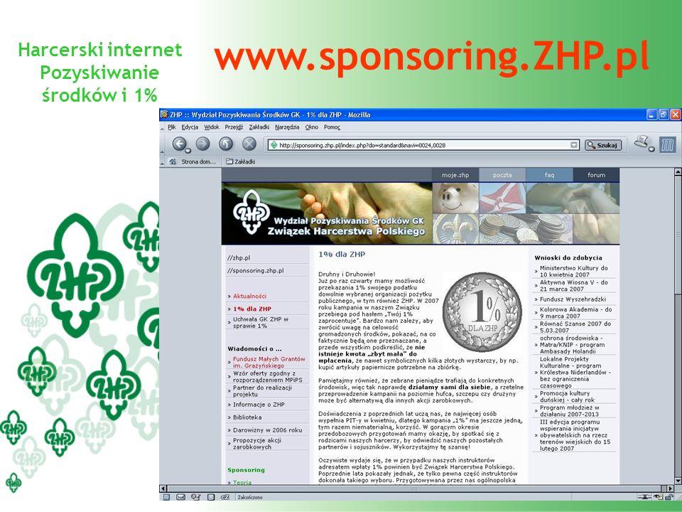 Harcerski internet Pozyskiwanie środków i 1% www.sponsoring.ZHP.pl
