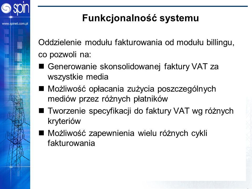 Power Bridge 2002 Funkcjonalność systemu Oddzielenie modułu fakturowania od modułu billingu, co pozwoli na: Generowanie skonsolidowanej faktury VAT za