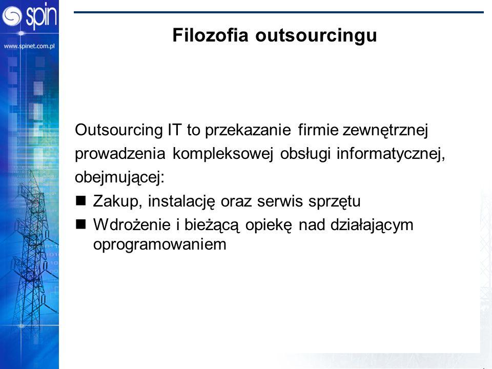 Filozofia outsourcingu Outsourcing IT to przekazanie firmie zewnętrznej prowadzenia kompleksowej obsługi informatycznej, obejmującej: Zakup, instalacj
