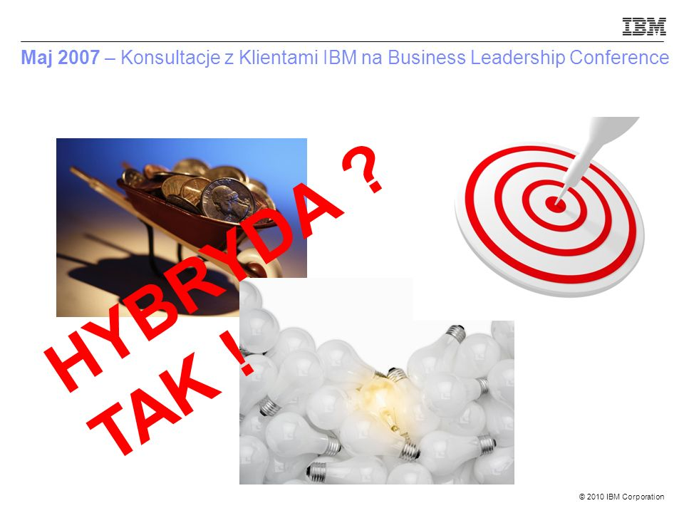 © 2010 IBM Corporation Maj 2007 – Konsultacje z Klientami IBM na Business Leadership Conference HYBRYDA ? TAK !