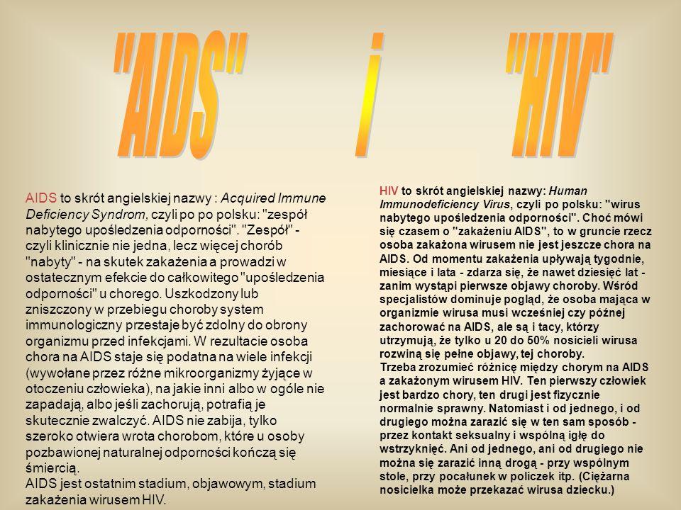 AIDS to skrót angielskiej nazwy : Acquired Immune Deficiency Syndrom, czyli po po polsku: