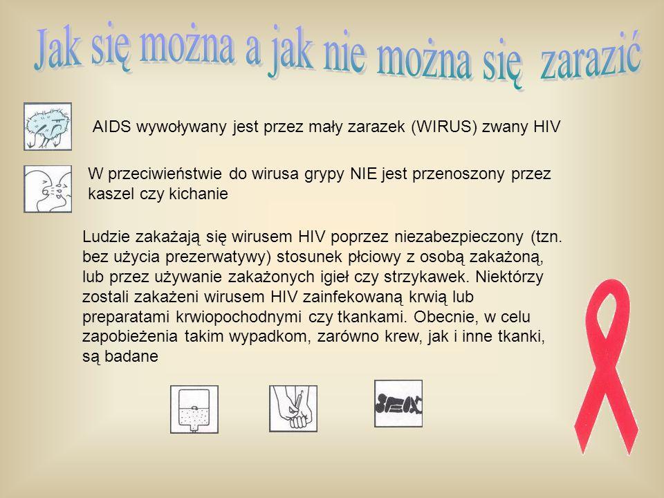 AIDS wywoływany jest przez mały zarazek (WIRUS) zwany HIV W przeciwieństwie do wirusa grypy NIE jest przenoszony przez kaszel czy kichanie Ludzie zaka