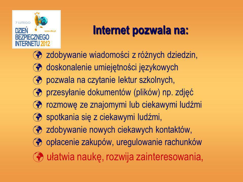 Internet pozwala na: zdobywanie wiadomości z różnych dziedzin, doskonalenie umiejętności językowych pozwala na czytanie lektur szkolnych, przesyłanie dokumentów (plików) np.