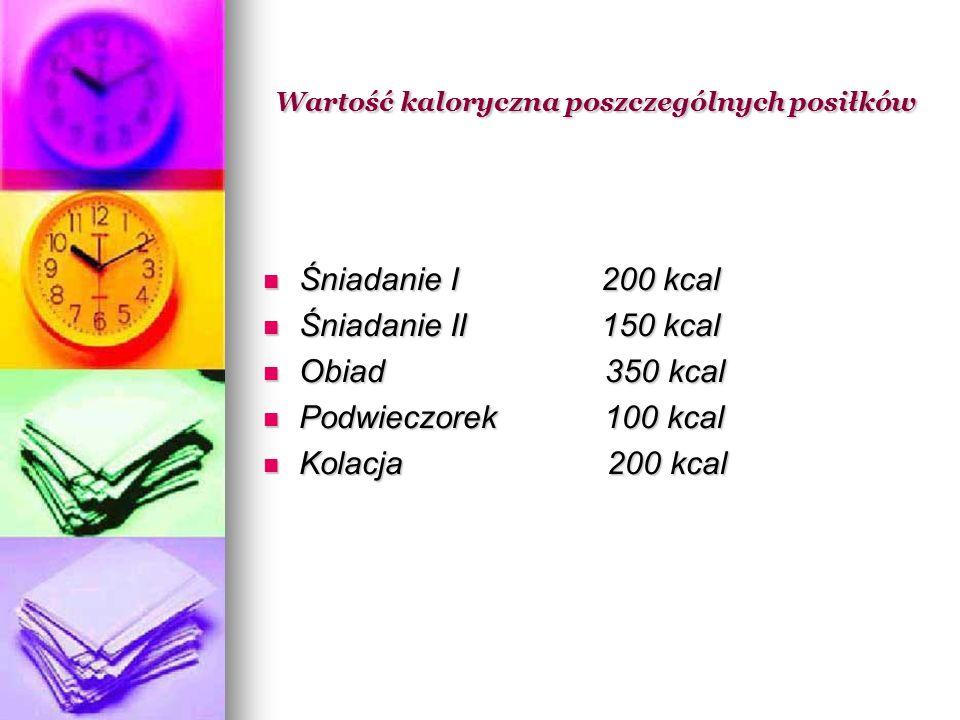 Wartość kaloryczna poszczególnych posiłków Wartość kaloryczna poszczególnych posiłków Śniadanie I 200 kcal Śniadanie I 200 kcal Śniadanie II 150 kcal