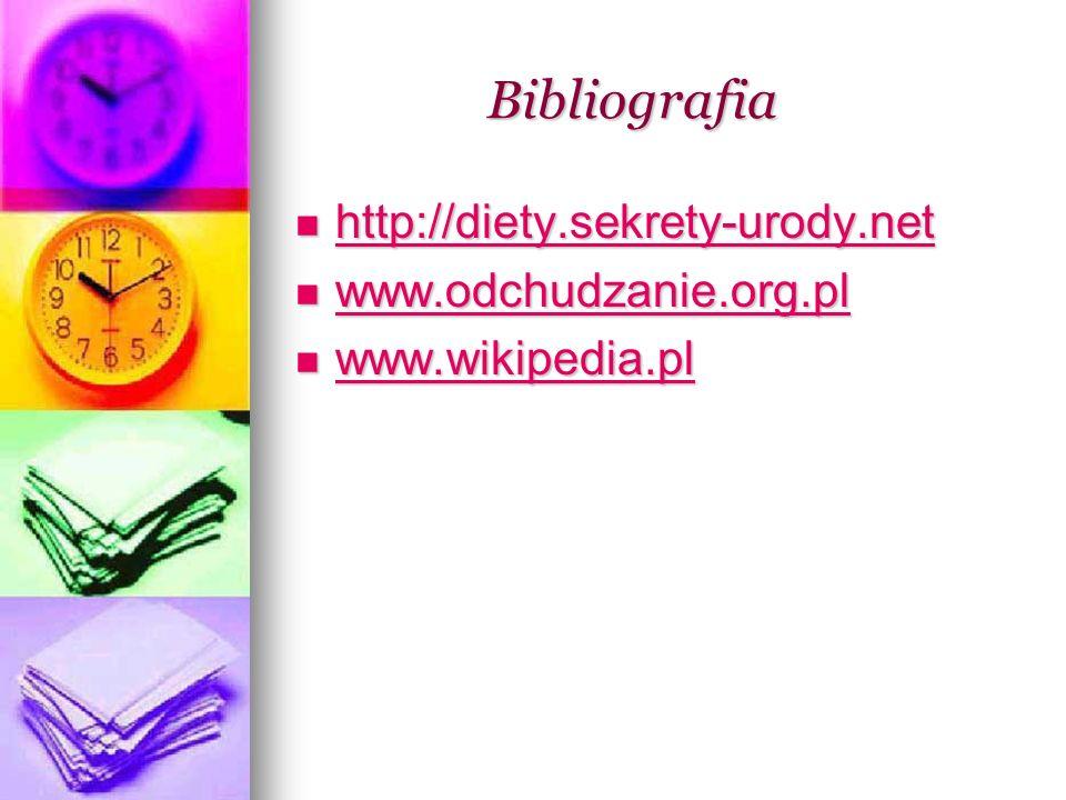 Bibliografia Bibliografia http://diety.sekrety-urody.net http://diety.sekrety-urody.net http://diety.sekrety-urody.net www.odchudzanie.org.pl www.odch