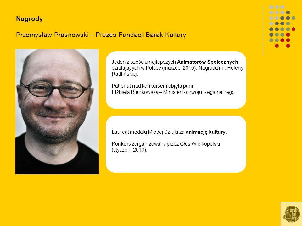 Nagrody Przemysław Prasnowski – Prezes Fundacji Barak Kultury Laureat medalu Młodej Sztuki za animację kultury.