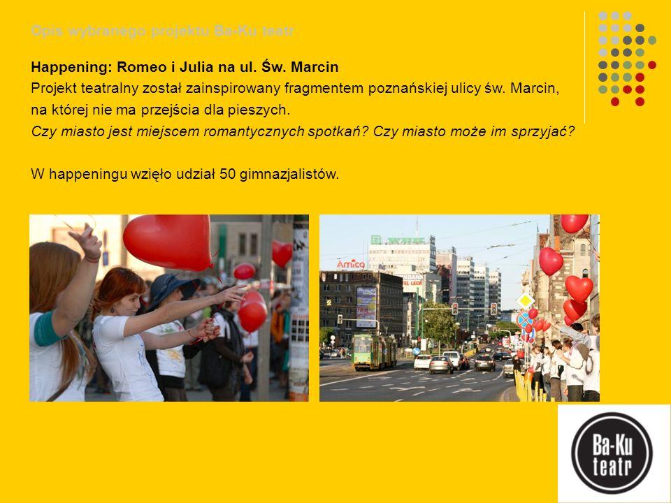 Opis wybranego projektu Ba-Ku teatr Happening: Romeo i Julia na ul. Św. Marcin Projekt teatralny został zainspirowany fragmentem poznańskiej ulicy św.