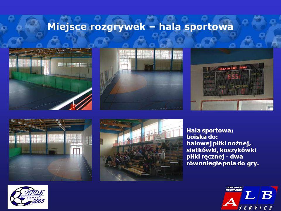 - 5 - Miejsce rozgrywek – hala sportowa Hala sportowa; boiska do: halowej piłki nożnej, siatkówki, koszykówki piłki ręcznej - dwa równoległe pola do gry.