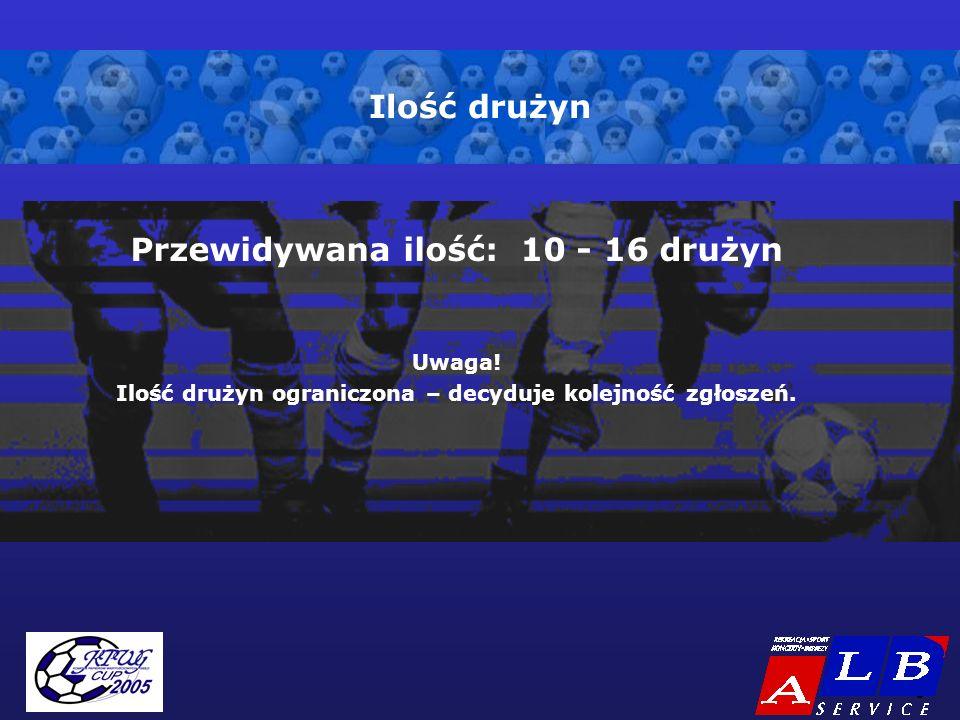- 6 - Ilość drużyn Przewidywana ilość: 10 - 16 drużyn Uwaga.