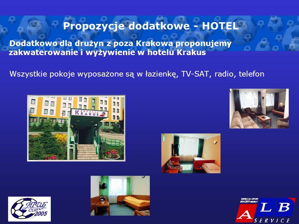 - 8 - Propozycje dodatkowe - HOTEL Dodatkowo dla drużyn z poza Krakowa proponujemy zakwaterowanie i wyżywienie w hotelu Krakus Wszystkie pokoje wyposażone są w łazienkę, TV-SAT, radio, telefon