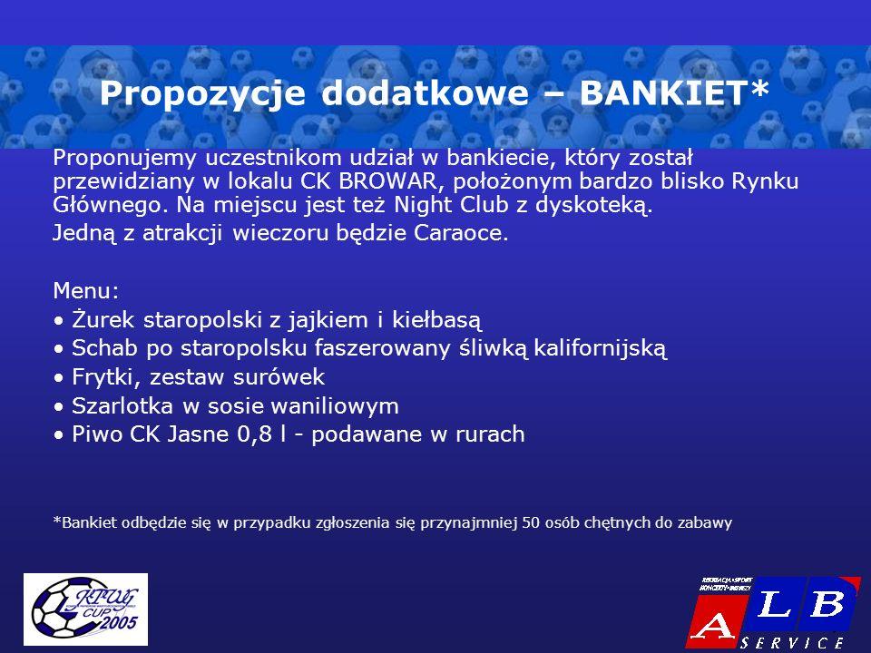- 9 - Propozycje dodatkowe – BANKIET* Proponujemy uczestnikom udział w bankiecie, który został przewidziany w lokalu CK BROWAR, położonym bardzo blisk
