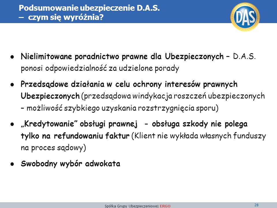 Spółka Grupy Ubezpieczeniowej ERGO 28 Podsumowanie ubezpieczenie D.A.S.