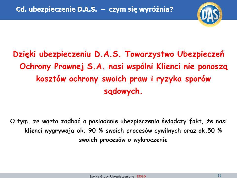 Spółka Grupy Ubezpieczeniowej ERGO 31 Cd. ubezpieczenie D.A.S.