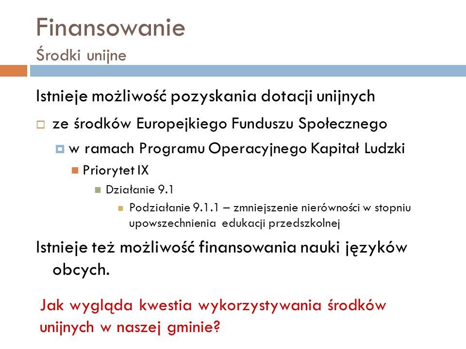 Finansowanie Środki unijne Istnieje możliwość pozyskania dotacji unijnych ze środków Europejkiego Funduszu Społecznego w ramach Programu Operacyjnego Kapitał Ludzki Priorytet IX Działanie 9.1 Podziałanie 9.1.1 – zmniejszenie nierówności w stopniu upowszechnienia edukacji przedszkolnej Istnieje też możliwość finansowania nauki języków obcych.