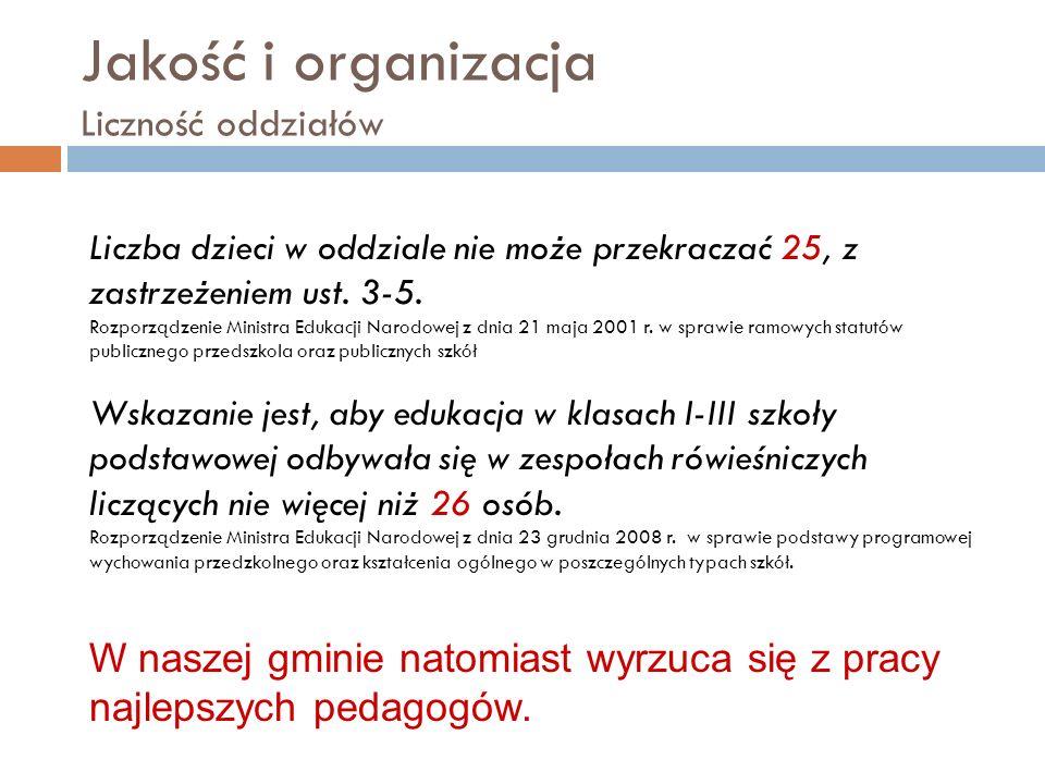 Jakość i organizacja Liczność oddziałów Liczba dzieci w oddziale nie może przekraczać 25, z zastrzeżeniem ust.