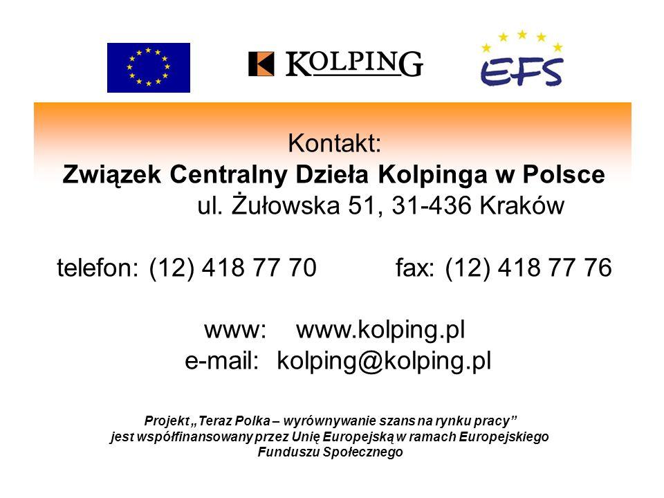 Projekt Teraz Polka – wyrównywanie szans na rynku pracy jest współfinansowany przez Unię Europejską w ramach Europejskiego Funduszu Społecznego Kontak
