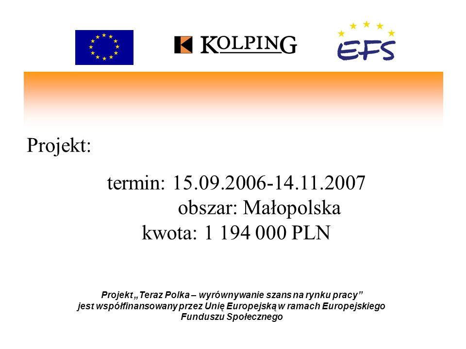 Projekt: Projekt Teraz Polka – wyrównywanie szans na rynku pracy jest współfinansowany przez Unię Europejską w ramach Europejskiego Funduszu Społeczne