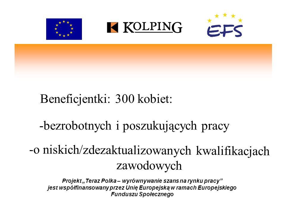 Nasza oferta: Projekt Teraz Polka – wyrównywanie szans na rynku pracy jest współfinansowany przez Unię Europejską w ramach Europejskiego Funduszu Społecznego -doradztwo zawodowe - wolontariat -szkolenia i kursy zawodowe - pośrednictwo pracy