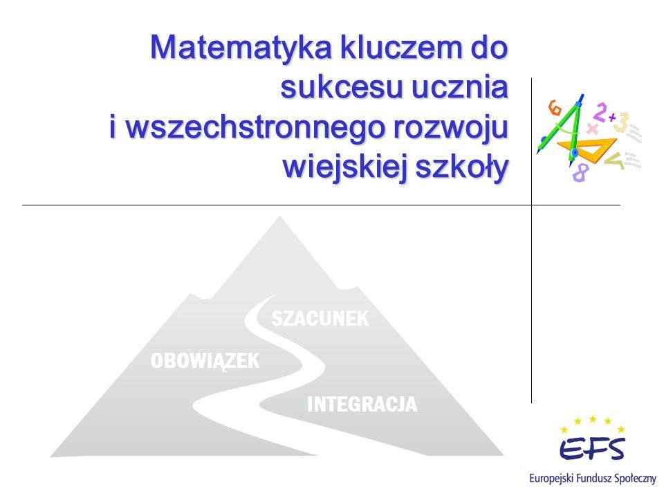Matematyka kluczem do sukcesu ucznia i wszechstronnego rozwoju wiejskiej szkoły Matematyka kluczem do sukcesu ucznia i wszechstronnego rozwoju wiejskiej szkoły