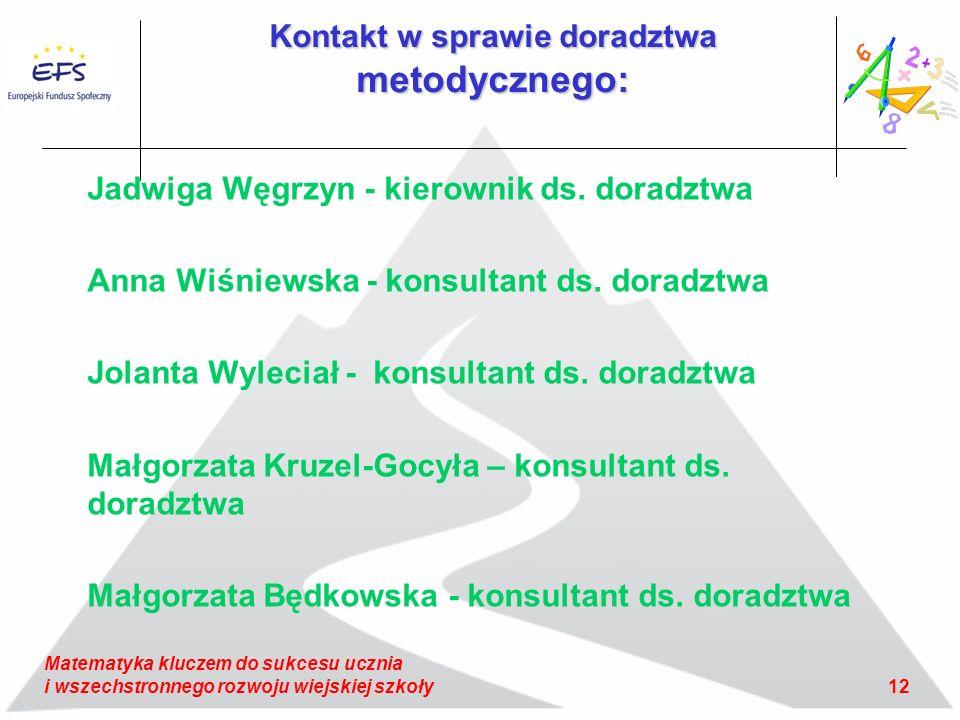 12 Matematyka kluczem do sukcesu ucznia i wszechstronnego rozwoju wiejskiej szkoły Kontakt w sprawie doradztwa metodycznego: Jadwiga Węgrzyn - kierownik ds.