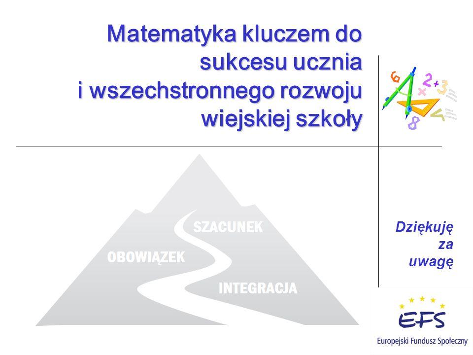 Dziękuję za uwagę Matematyka kluczem do sukcesu ucznia i wszechstronnego rozwoju wiejskiej szkoły Matematyka kluczem do sukcesu ucznia i wszechstronnego rozwoju wiejskiej szkoły