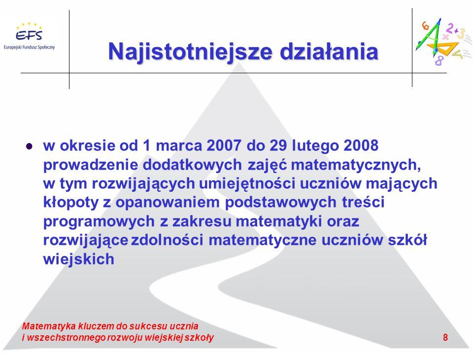 8 Matematyka kluczem do sukcesu ucznia i wszechstronnego rozwoju wiejskiej szkoły Najistotniejsze działania w okresie od 1 marca 2007 do 29 lutego 2008 prowadzenie dodatkowych zajęć matematycznych, w tym rozwijających umiejętności uczniów mających kłopoty z opanowaniem podstawowych treści programowych z zakresu matematyki oraz rozwijające zdolności matematyczne uczniów szkół wiejskich
