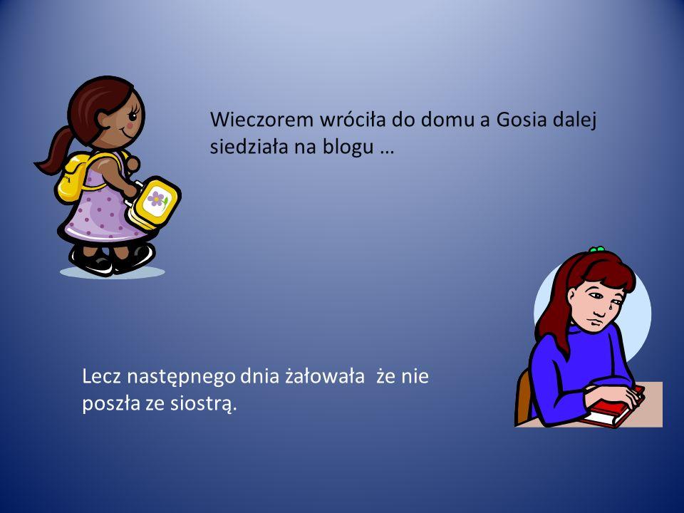 Wieczorem wróciła do domu a Gosia dalej siedziała na blogu … Lecz następnego dnia żałowała że nie poszła ze siostrą.
