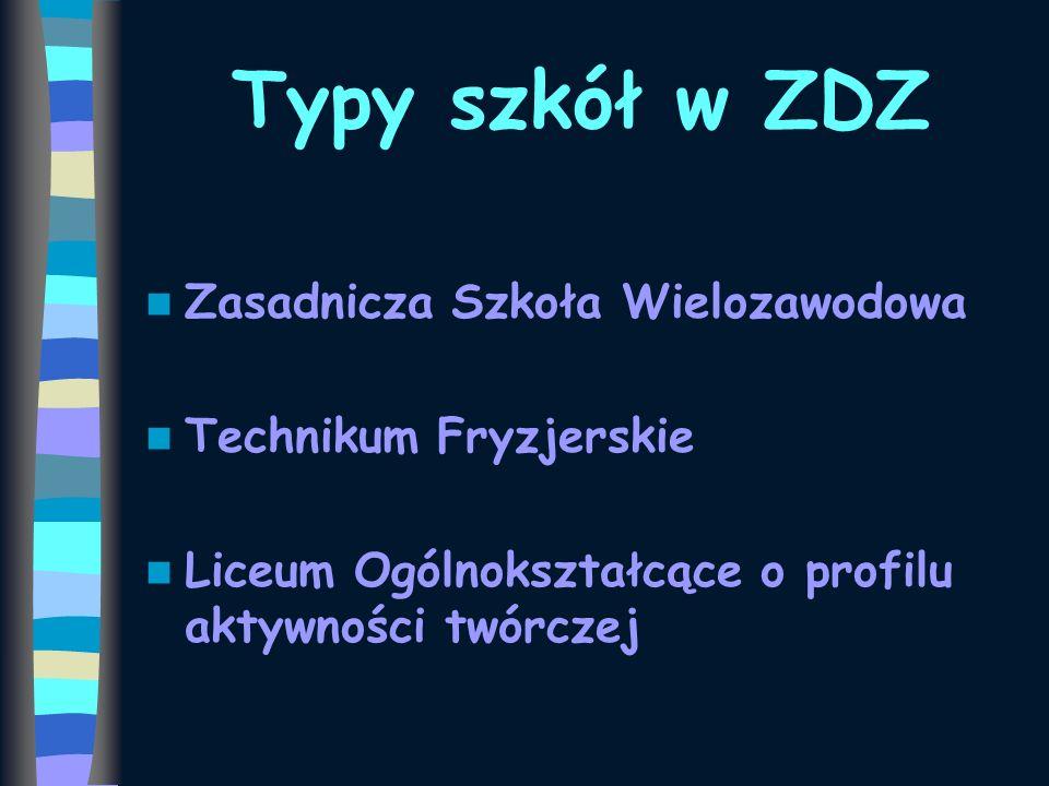 Typy szkół w ZDZ Zasadnicza Szkoła Wielozawodowa Technikum Fryzjerskie Liceum Ogólnokształcące o profilu aktywności twórczej